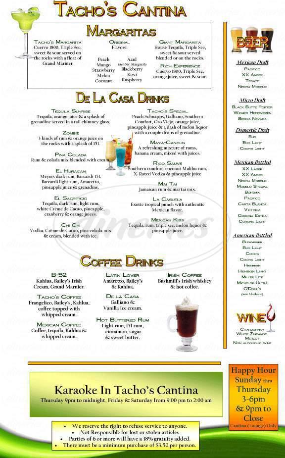 menu for Tacho's