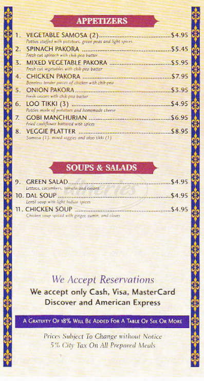 menu for Taj Indian Cuisine