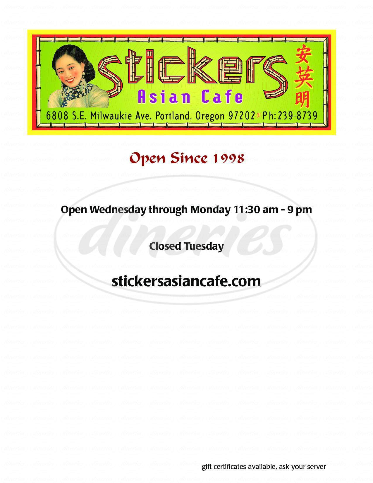 menu for Stickers Asian Cafe