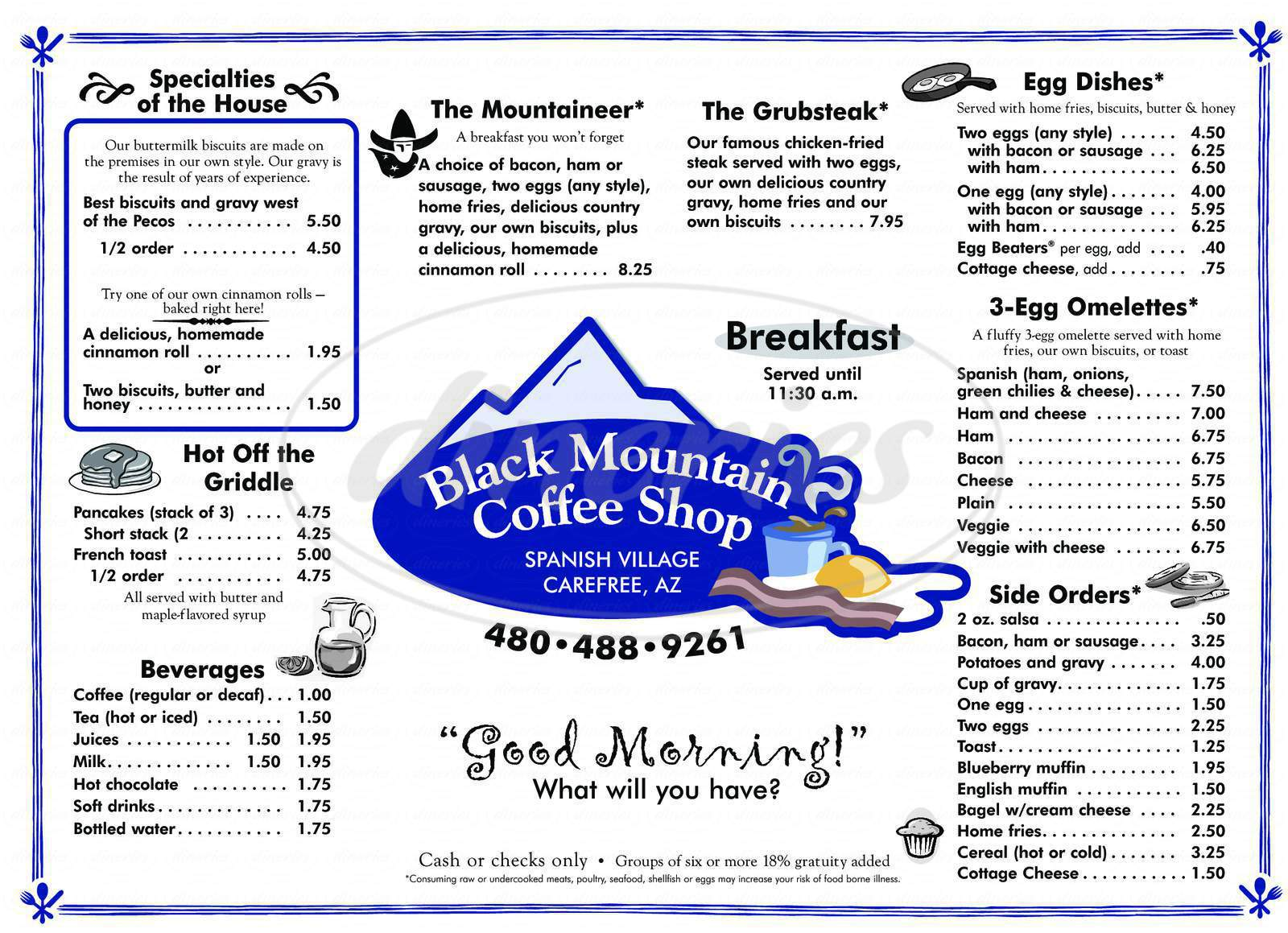 menu for Black Mountain Coffee Shop