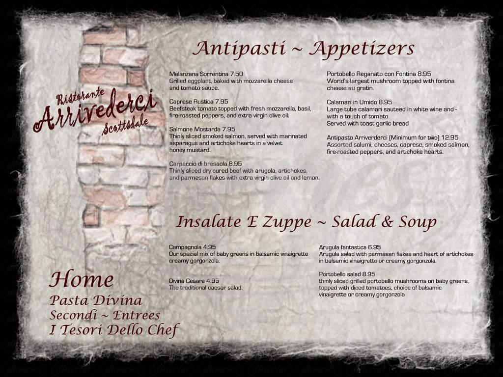 menu for Arrivederci