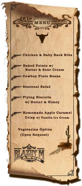 menu for Blazin' M Ranch
