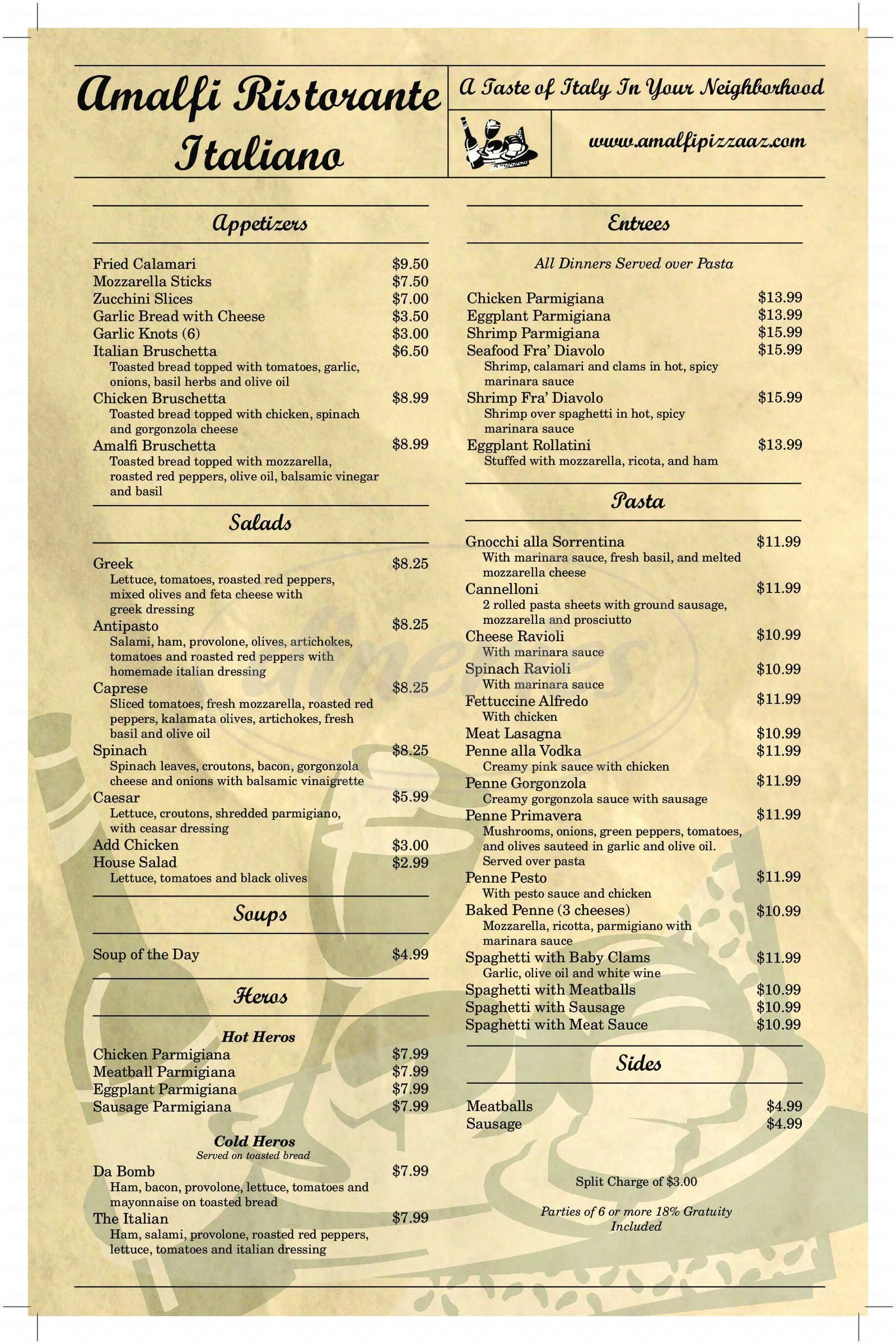 menu for Amalfi Ristorante Italiano