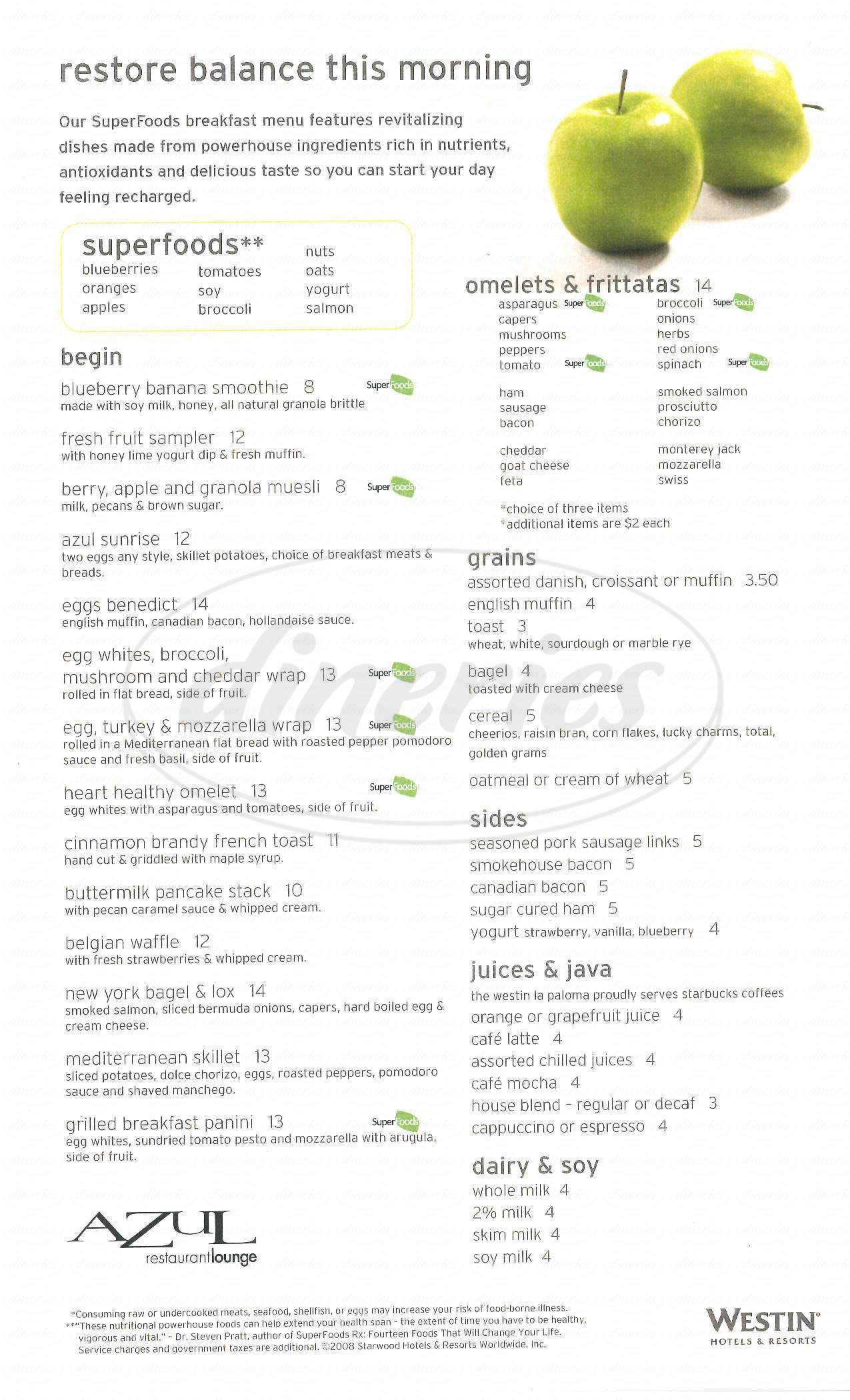 menu for Azul Restaurant and Lounge