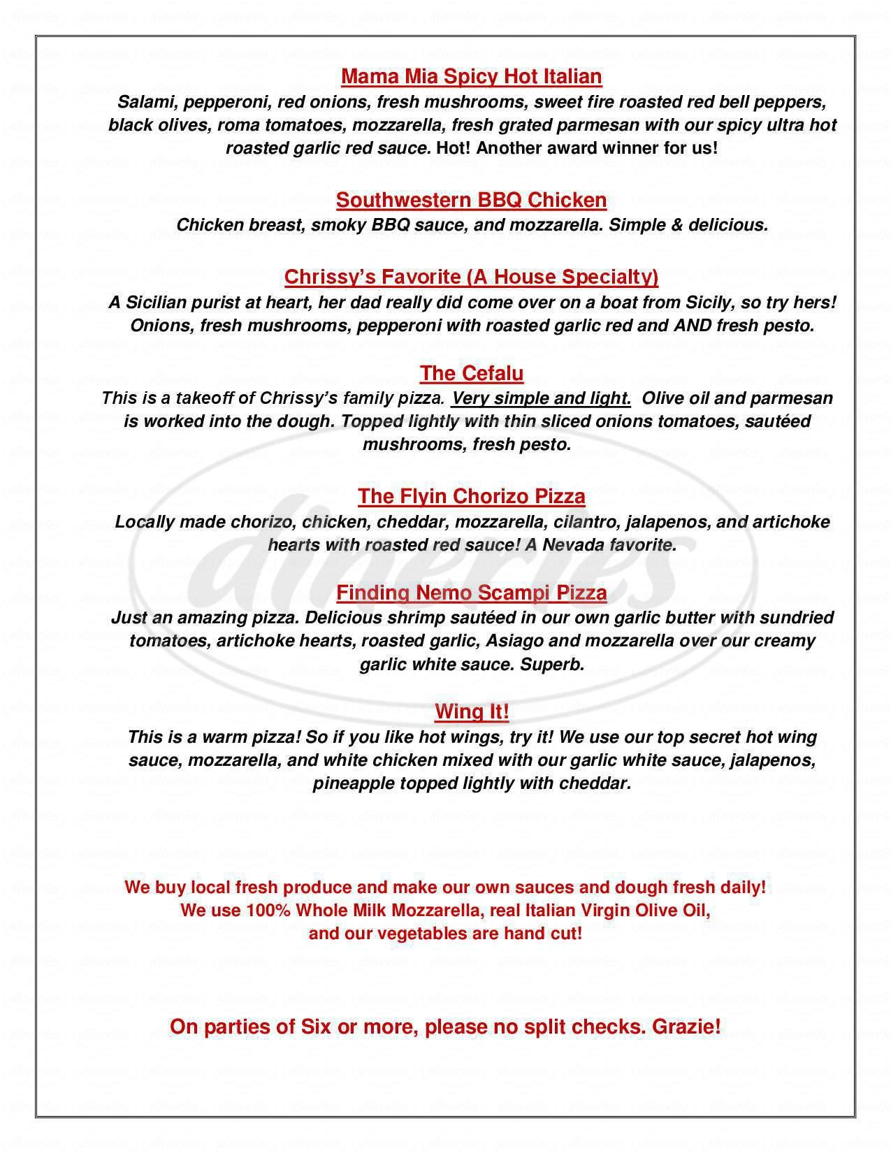 menu for Brugos Pizza