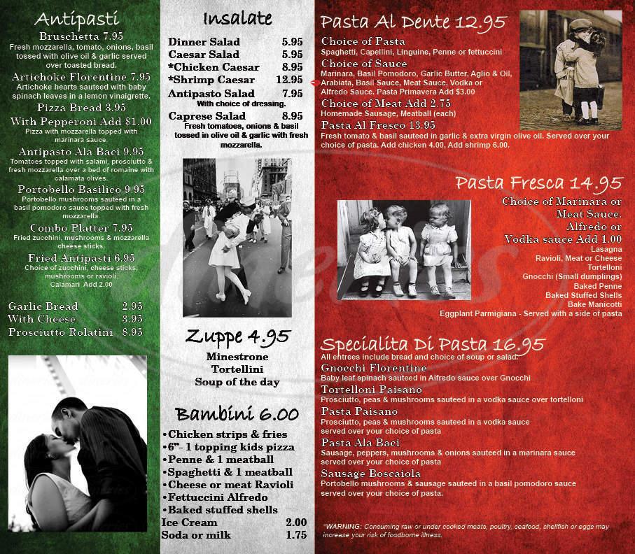 menu for Baci Italian Bistro