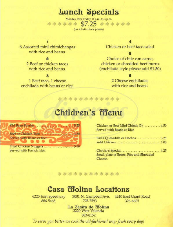 menu for Casa Molina