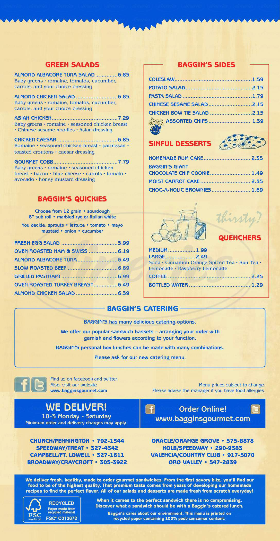 menu for Baggin's Gourmet Sandwiches