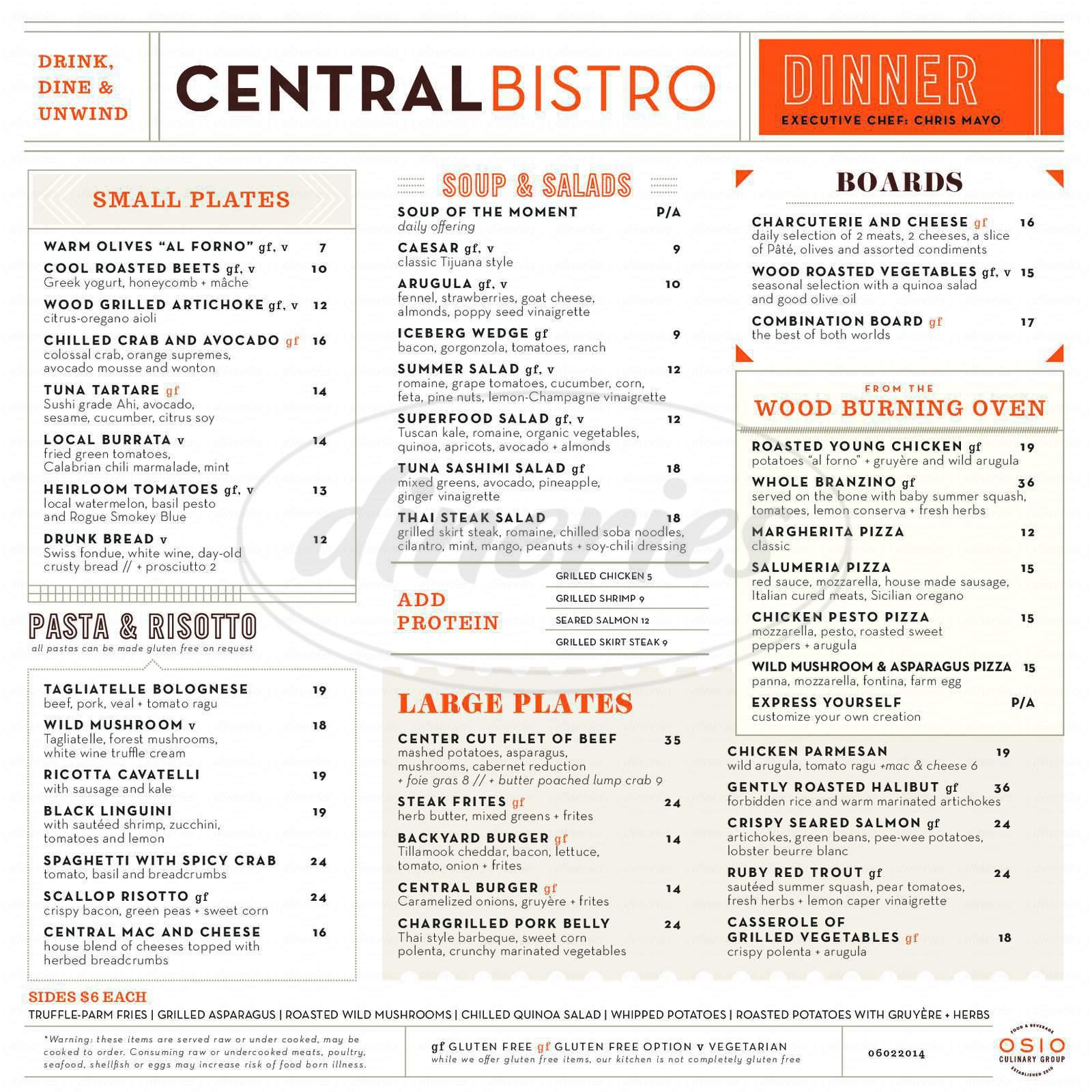 menu for Central Bistro