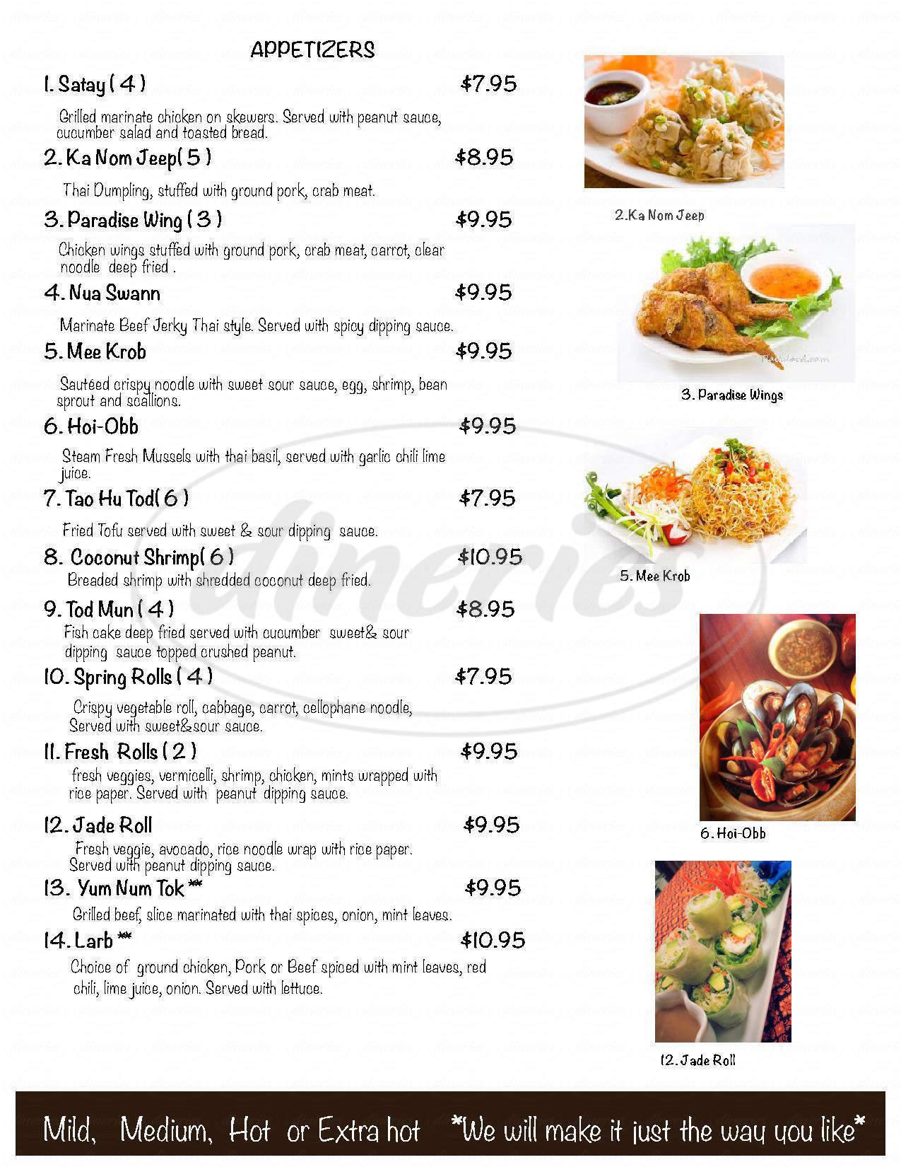 menu for Cha Da Thai