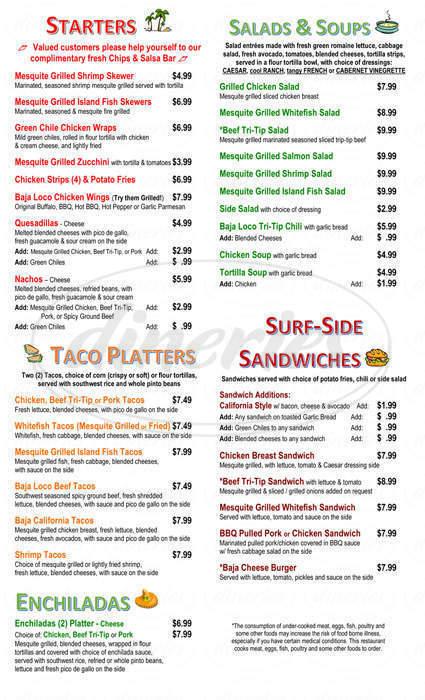 menu for Baja Loco Mesquite Grill & Cantina