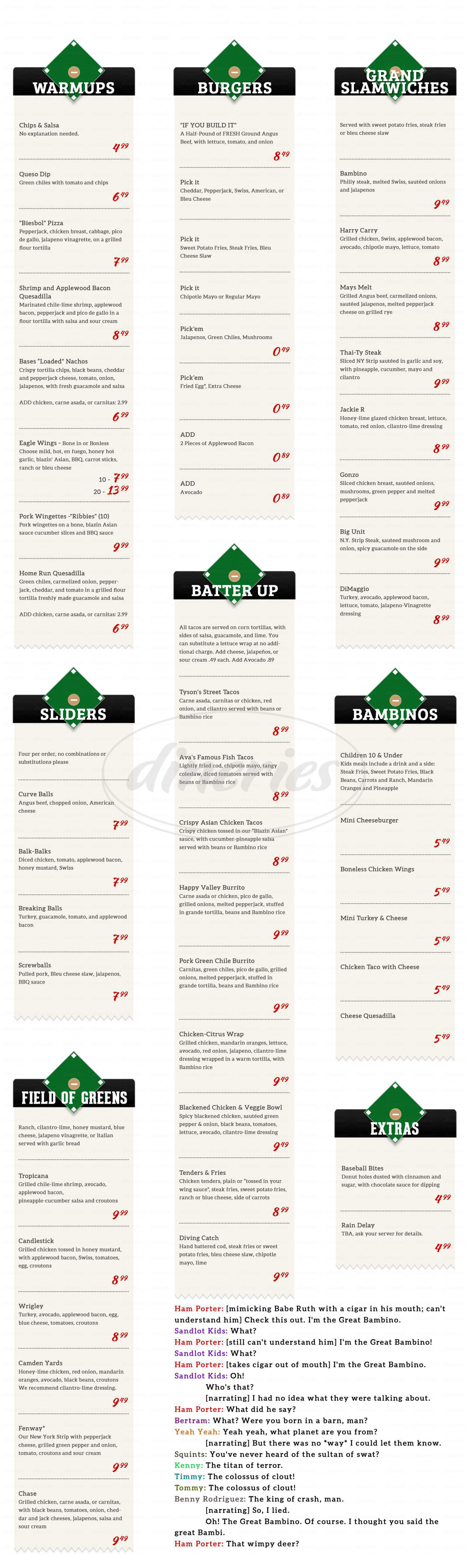 menu for Bambino's Sports Grill