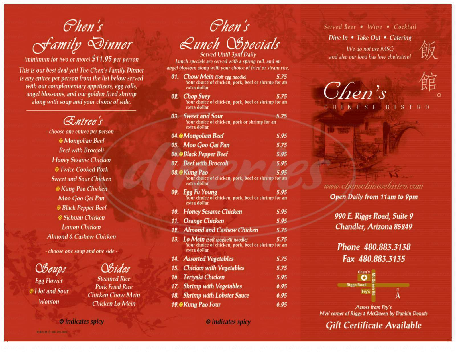 menu for Chen's Chinese Bistro