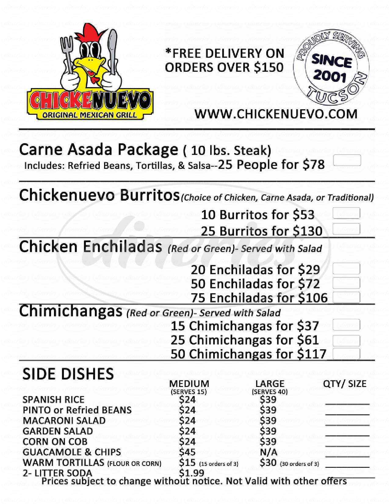 menu for Chicken Nuevo