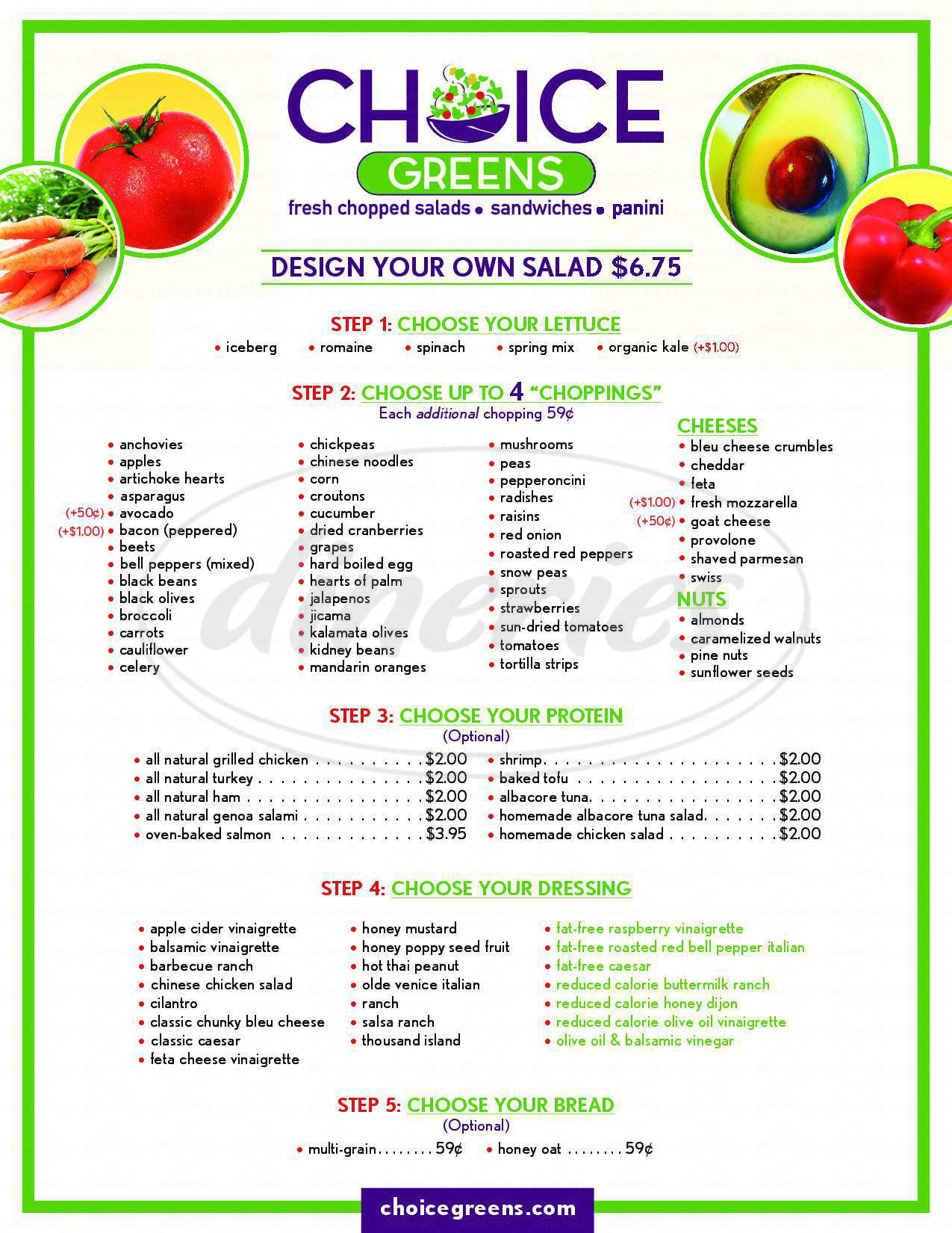 menu for Choice Greens