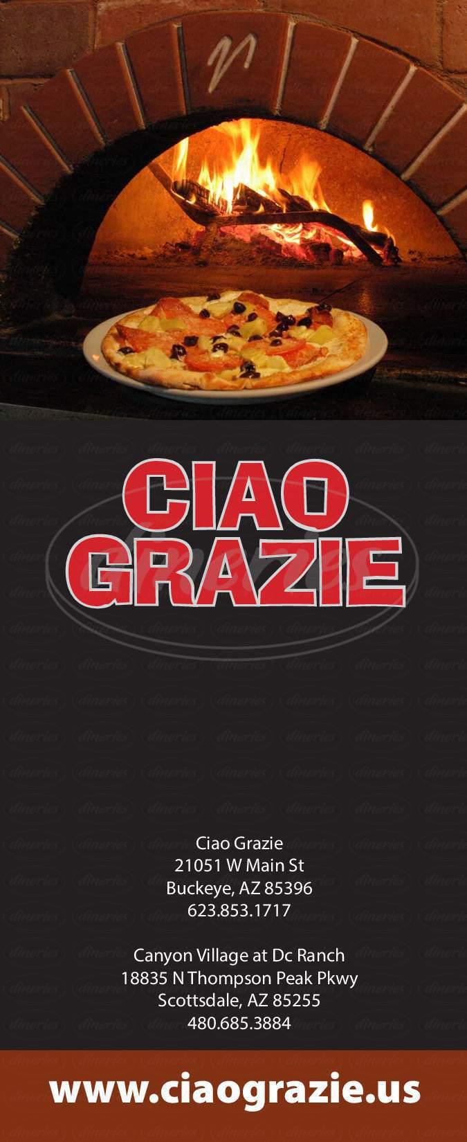 menu for Ciao Grazie