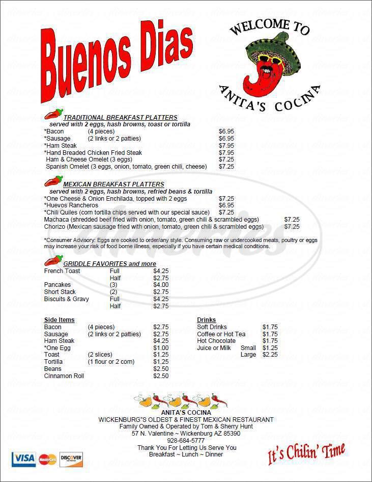 menu for Anita's Cocina