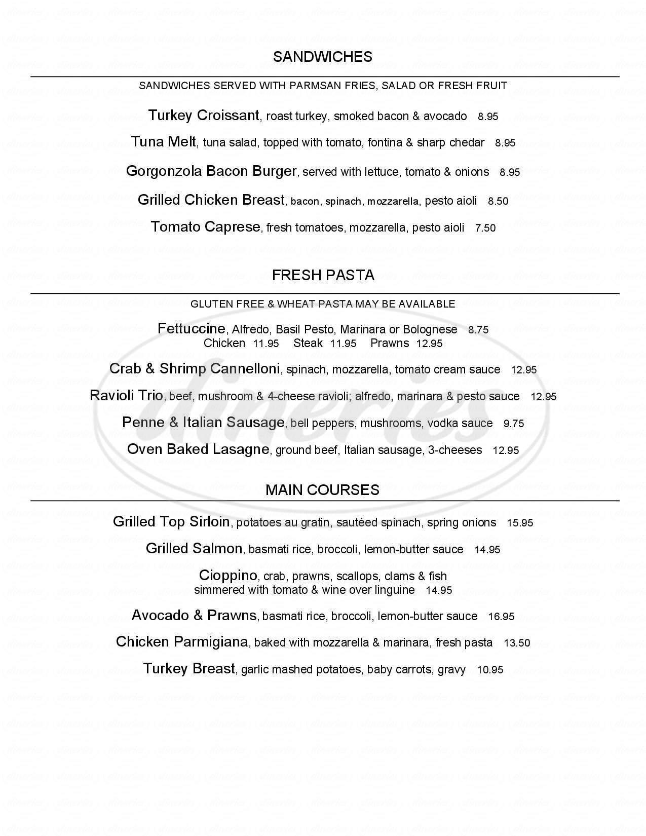 menu for Bella Mia Ristorante