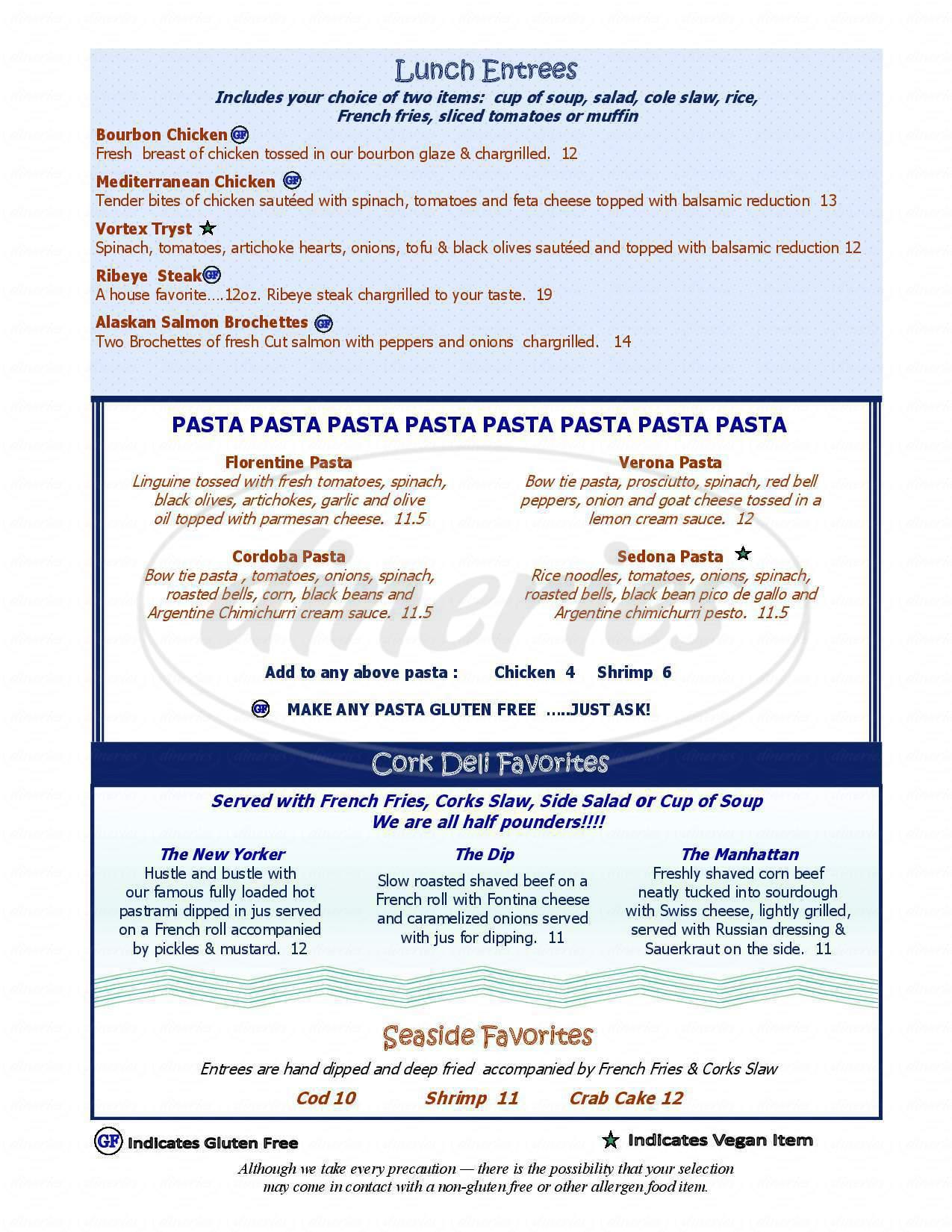menu for Cork & Catch