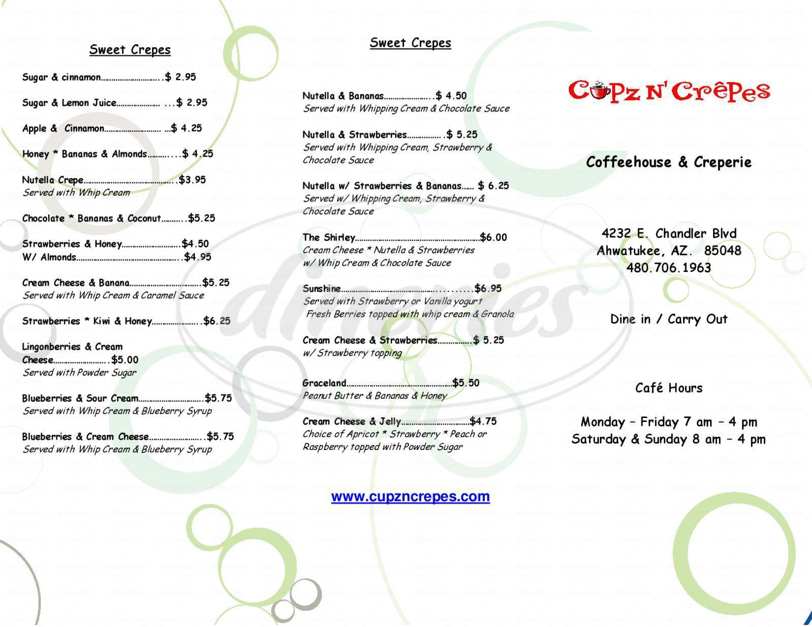 menu for Cupz N' Crepes