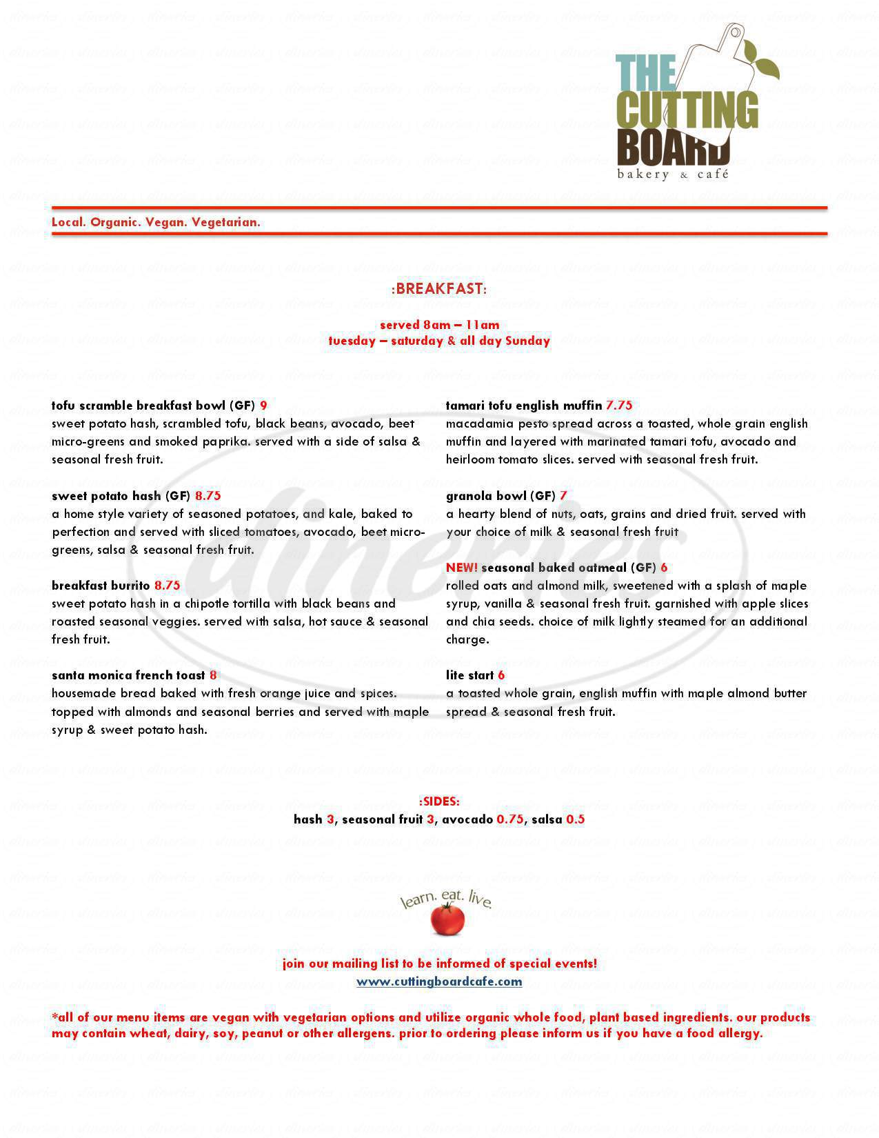 menu for Cutting Board Cafe