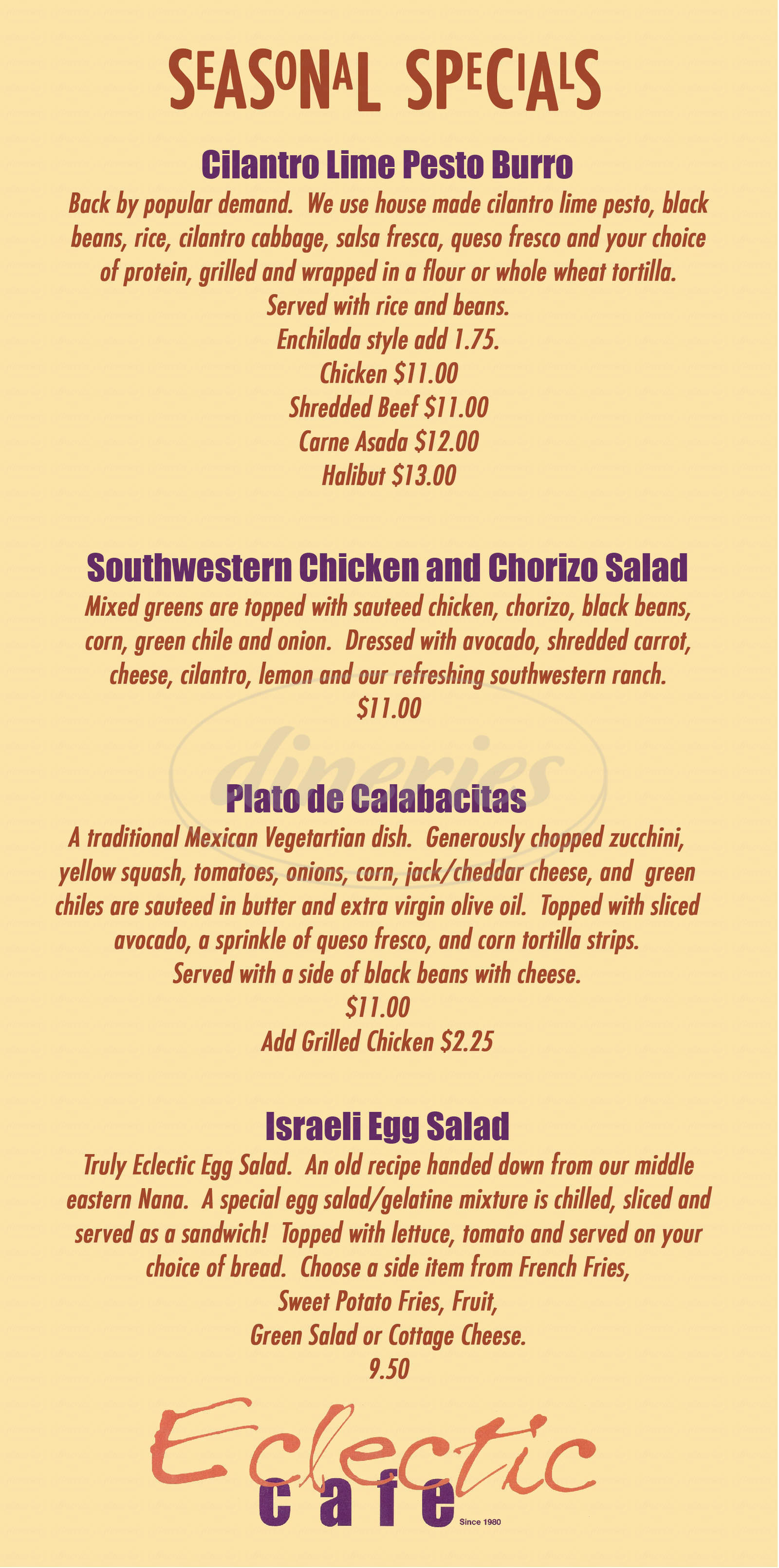 menu for Eclectic Cafe