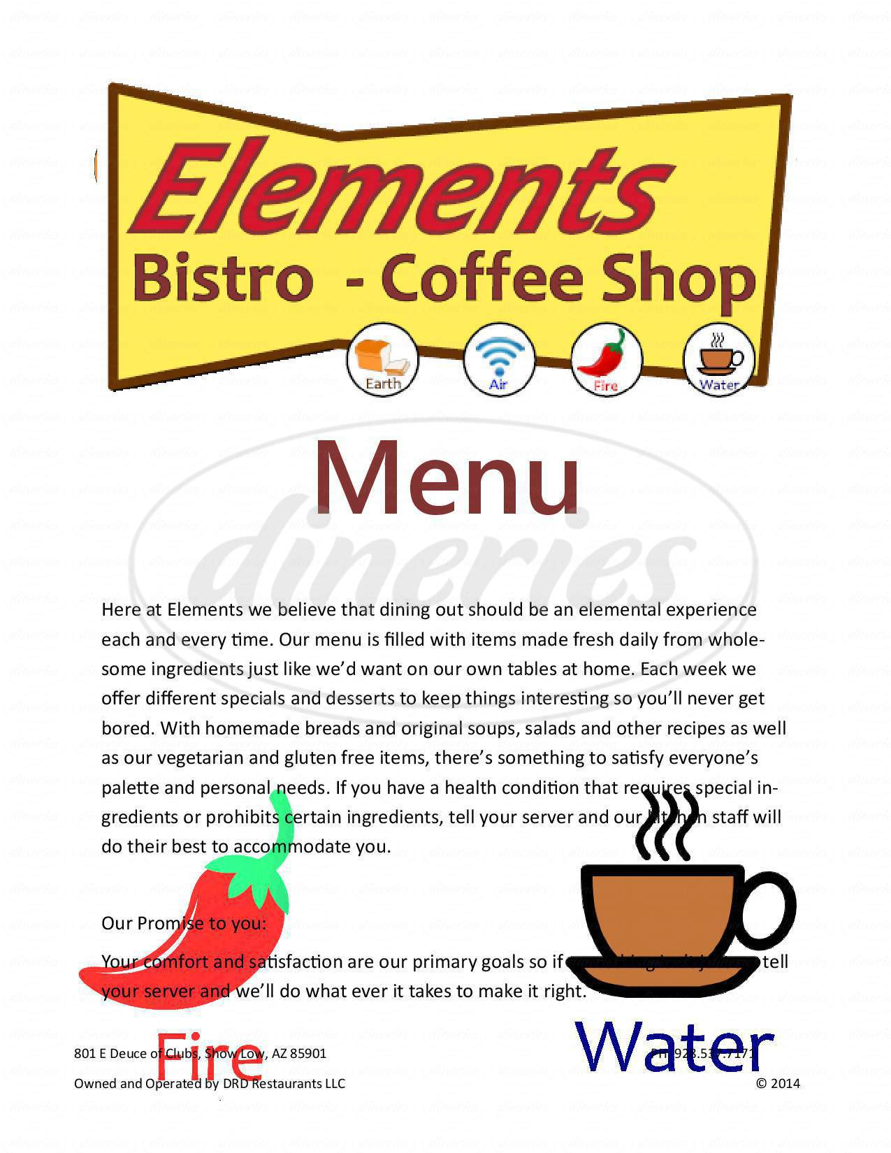 menu for Elements Bistro