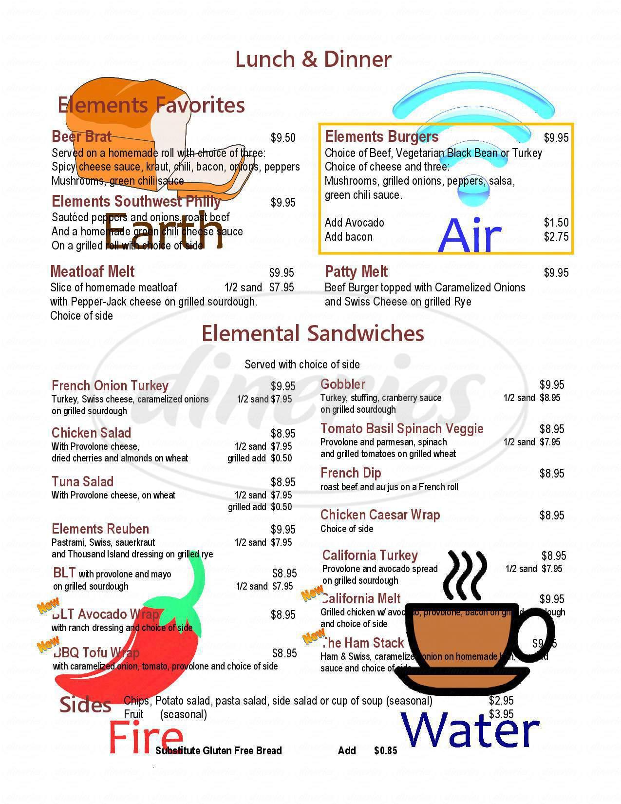 menu for Elements Bistro