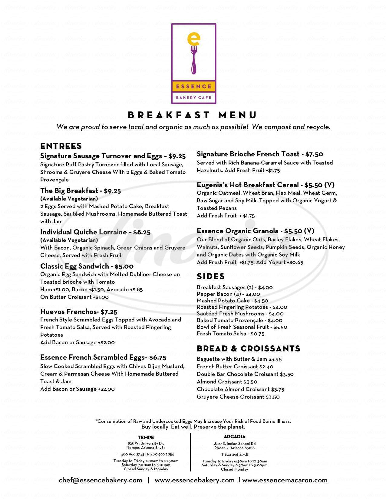 menu for Essence Bakery Cafe
