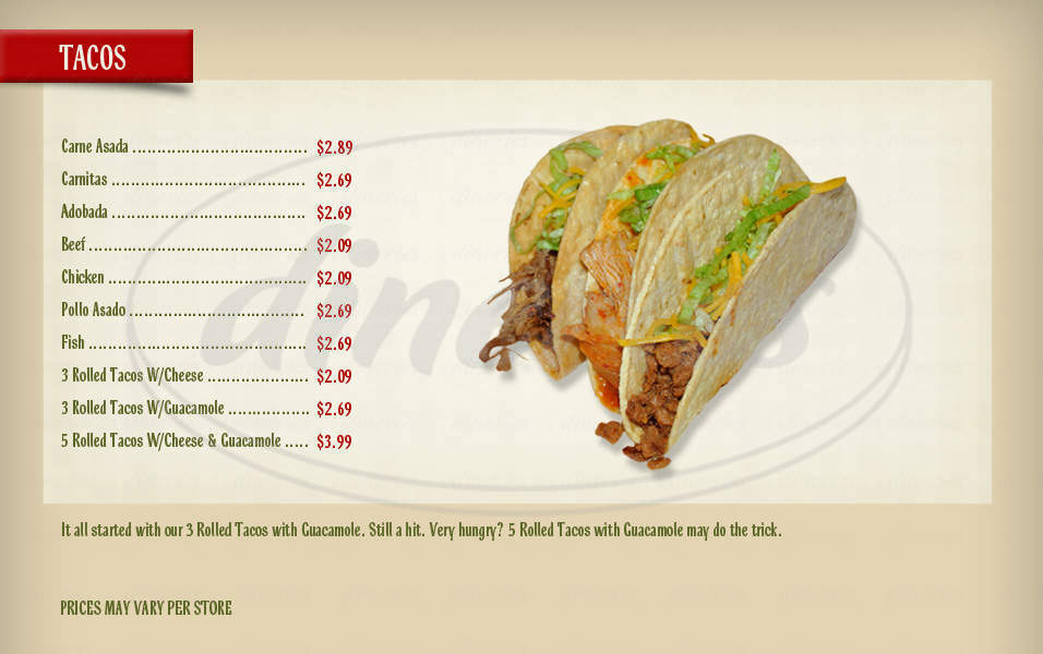 menu for Federico's Mexican Food