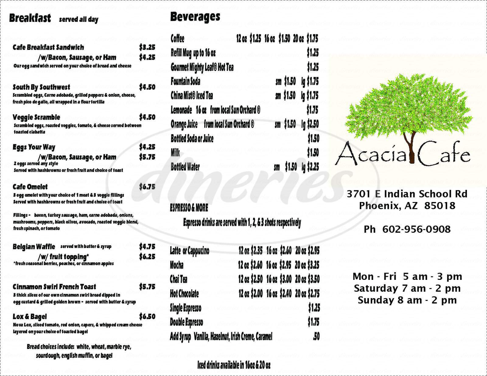 menu for Acacia Cafe