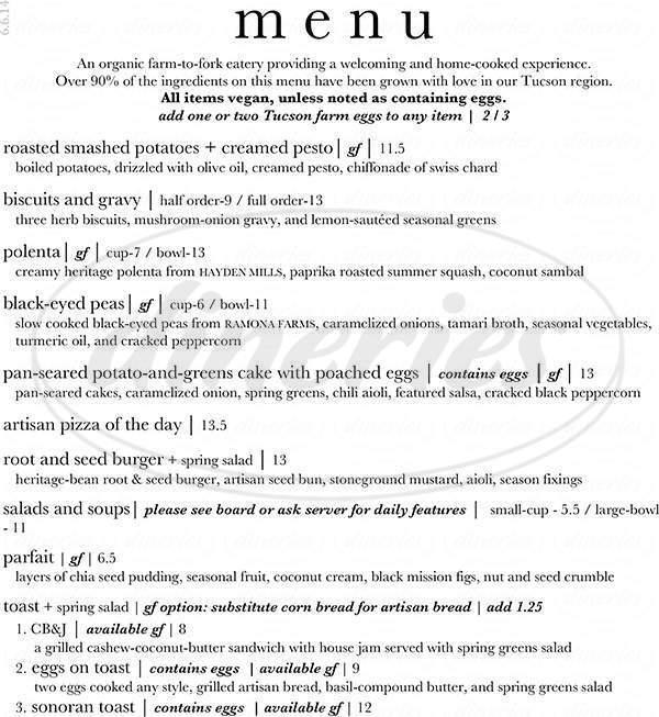 menu for Food For Ascension Cafe