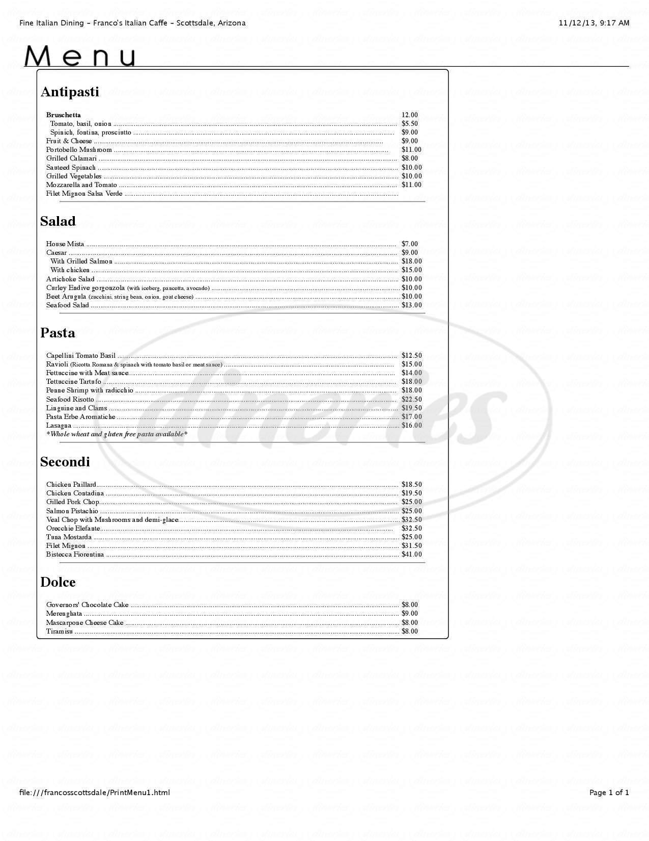 menu for Franco's Italian Caffé