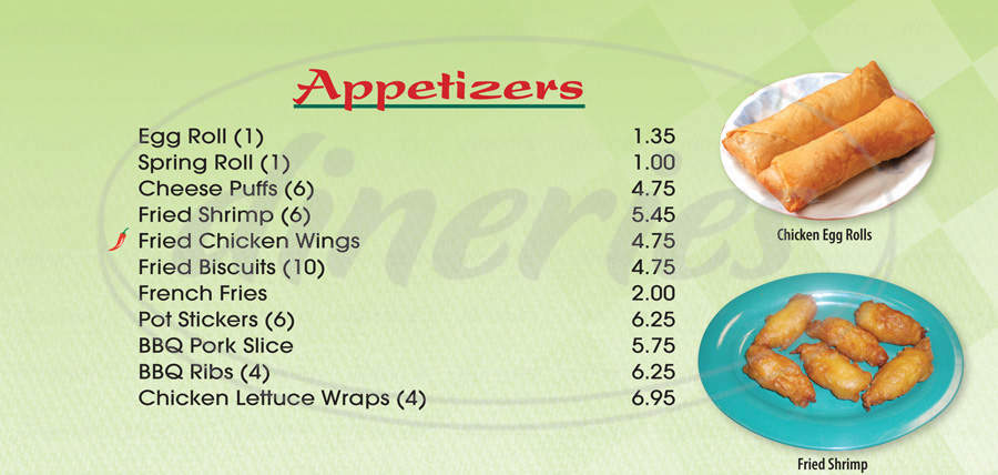 menu for AJK Chinese Cuisine