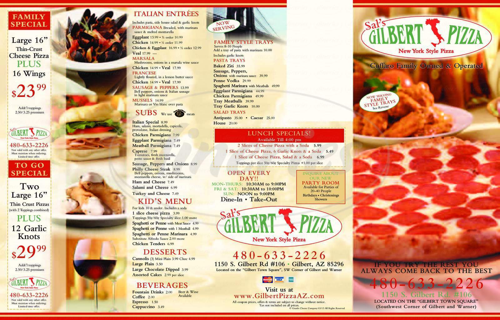 menu for Gilbert Pizza