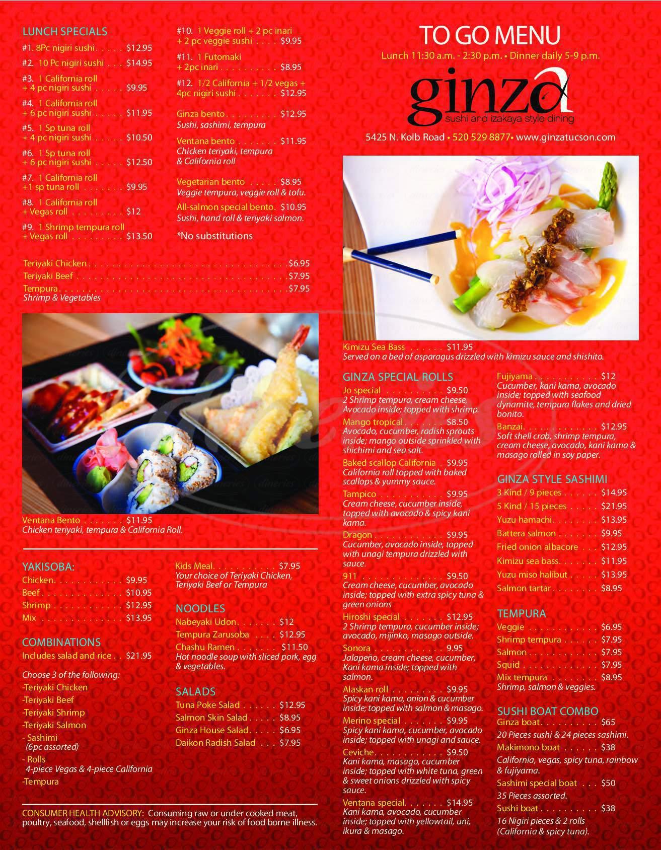 menu for Ginza Sushi