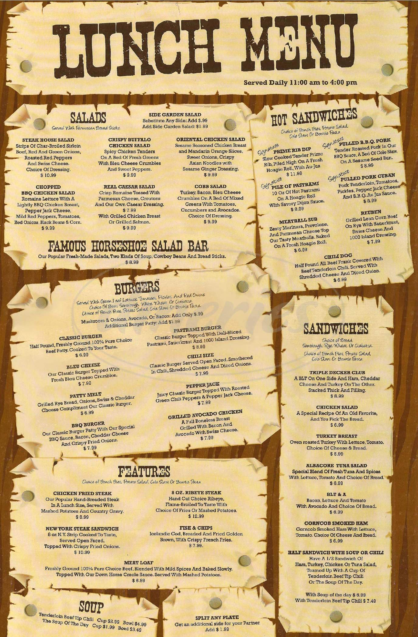 menu for Golden Horseshoe Farrell's
