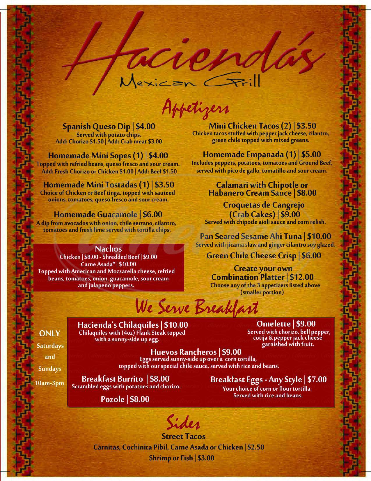 menu for Hacienda's Mexican Grill