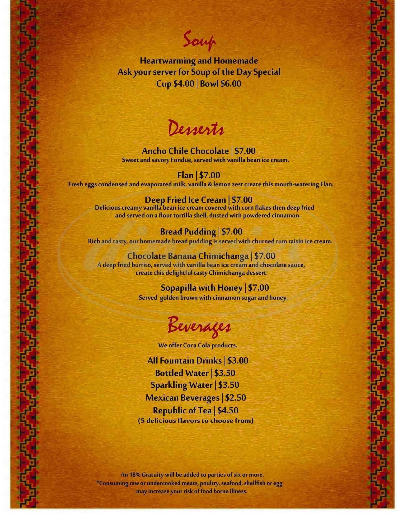 menu for Hacienda's Mexican Grill