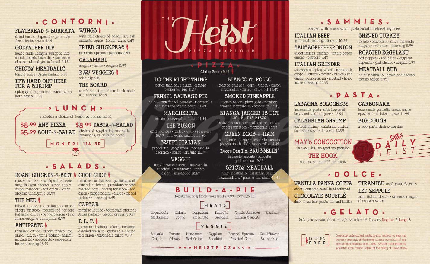 menu for The Heist Pizza Parlour