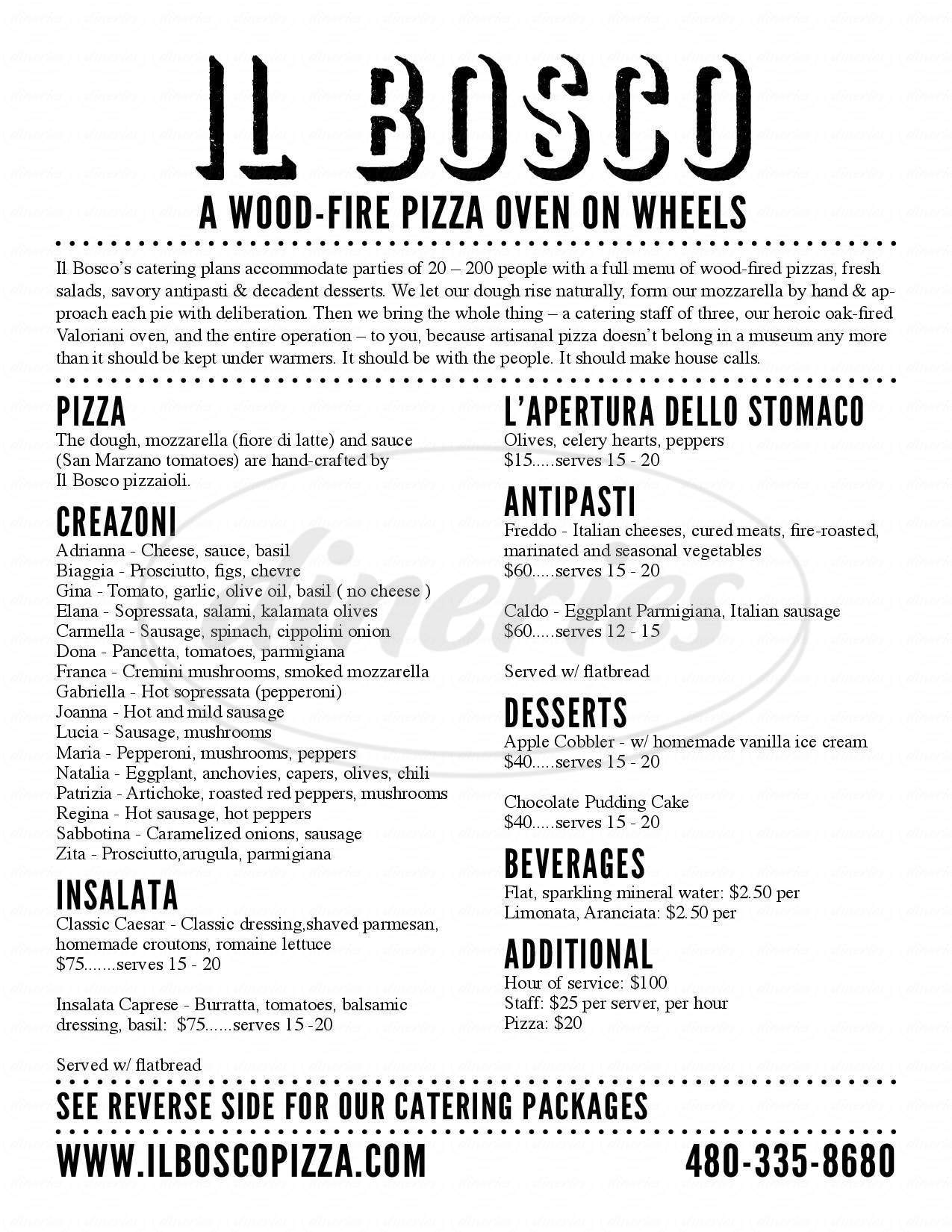 menu for Il Bosco Pizza