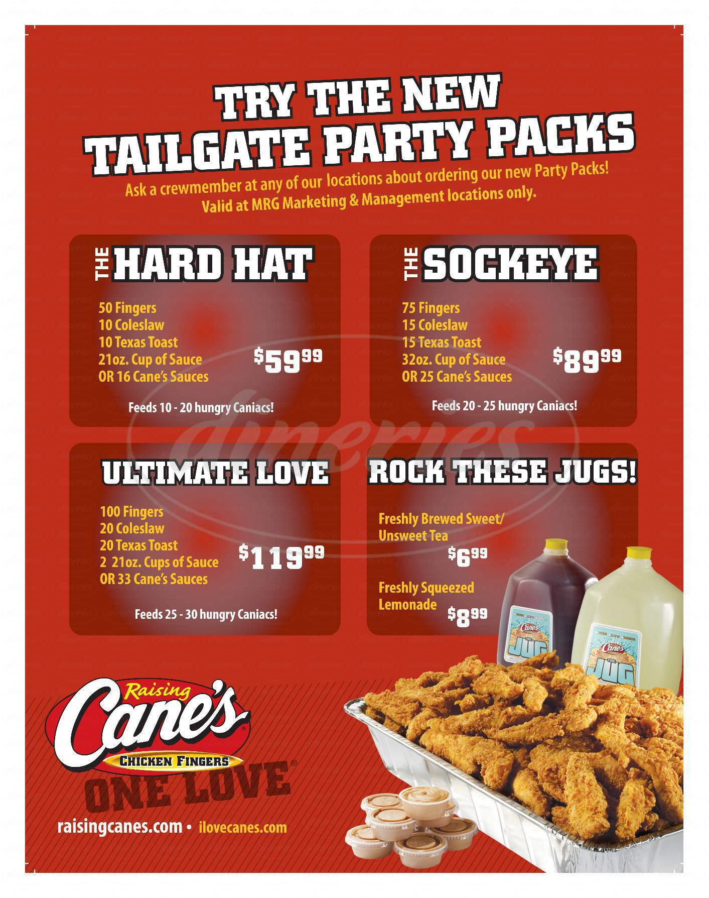 menu for Raising Cane's