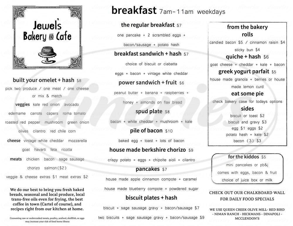 menu for Jewel's Bakery & Cafe