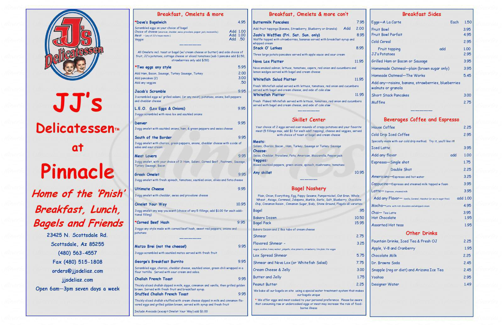 menu for JJ's Delicatessen