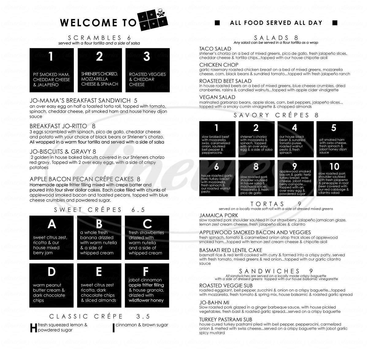 menu for JoBot Coffee