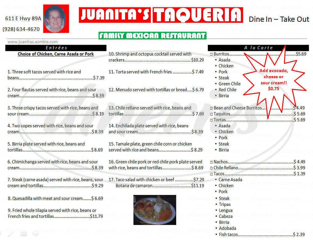 menu for Juanitas Taqueria
