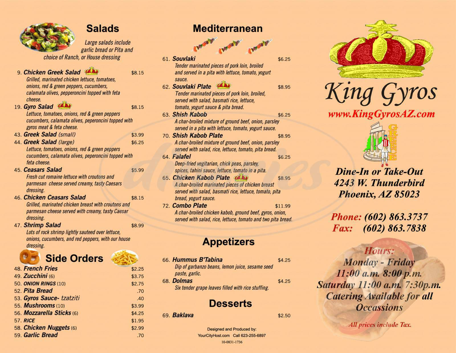 menu for King Gyros
