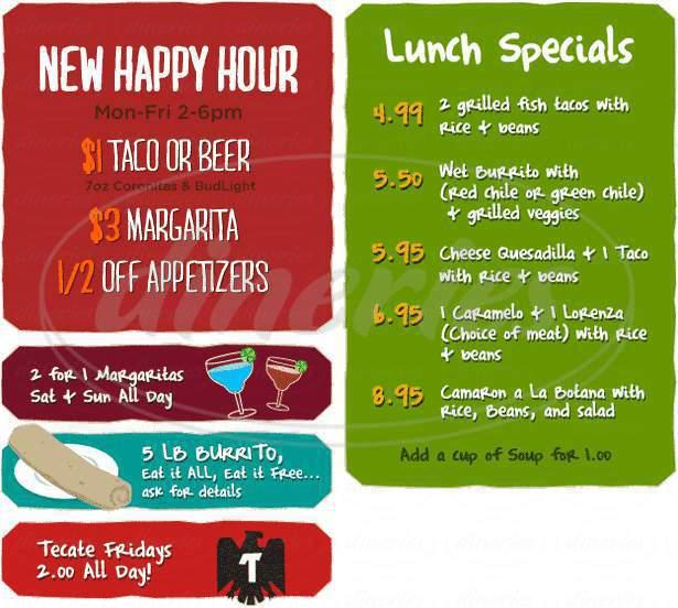 menu for La Botana Grill