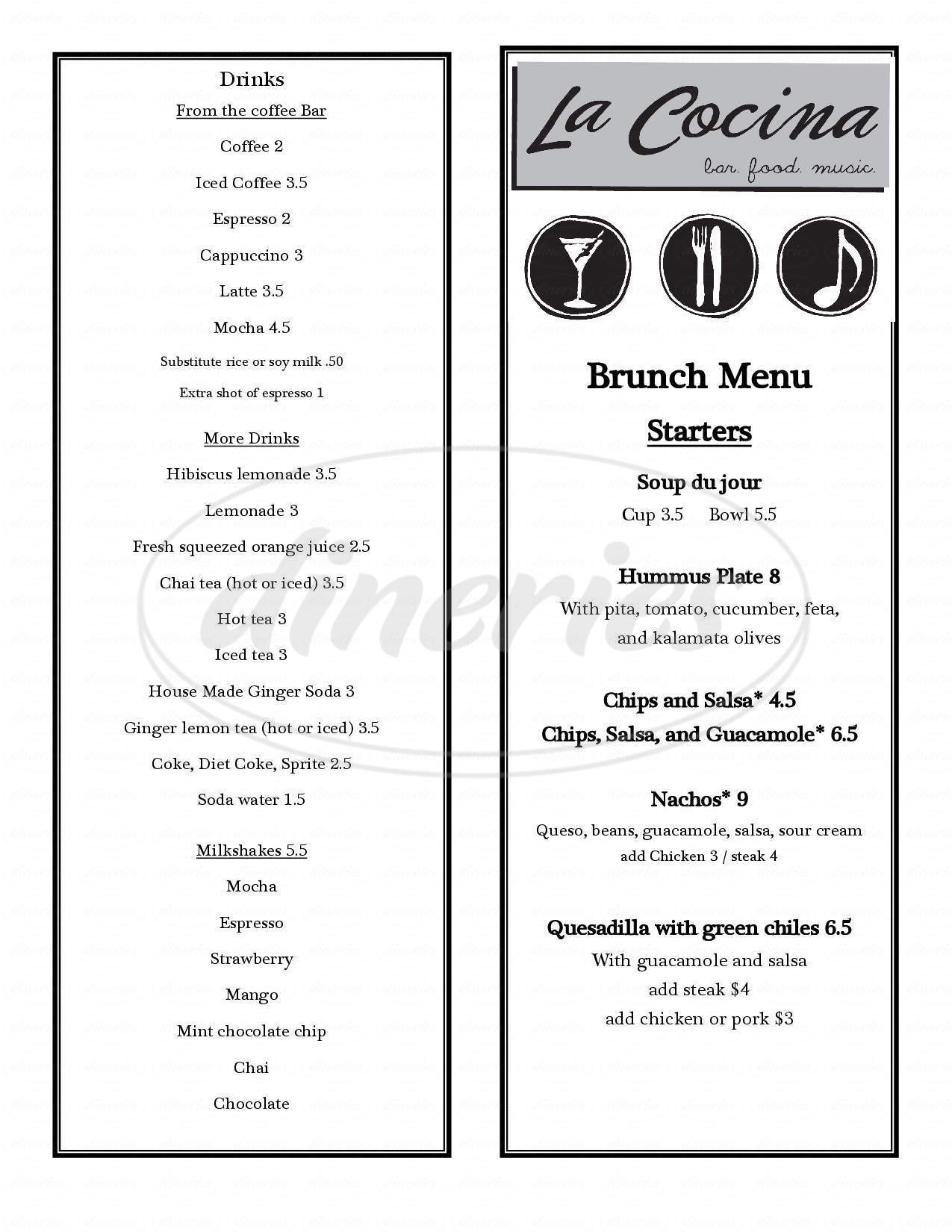 menu for La Cocina