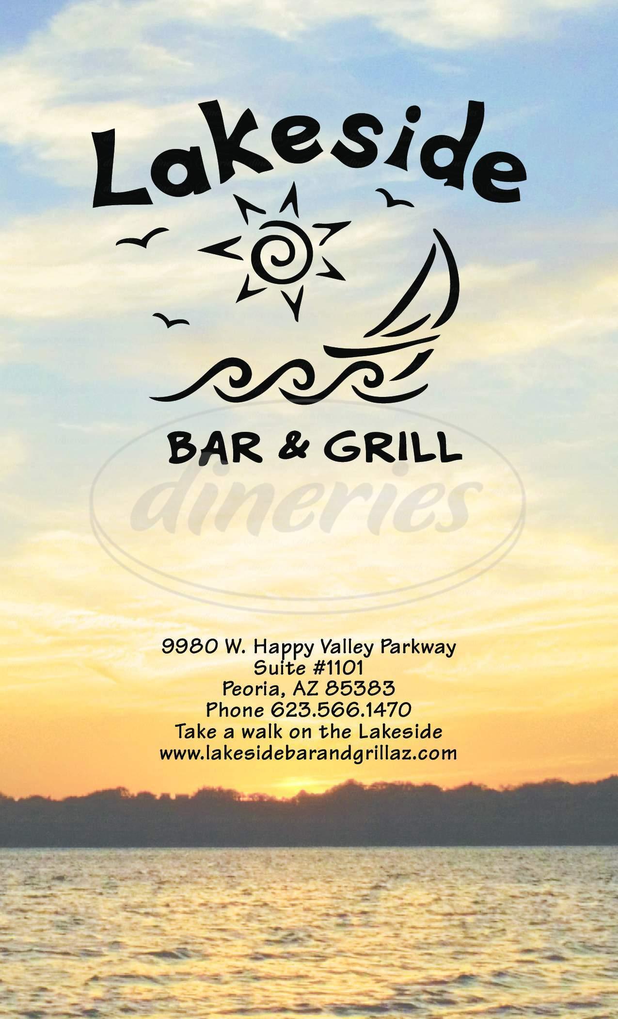 menu for Lakeside Bar & Grill